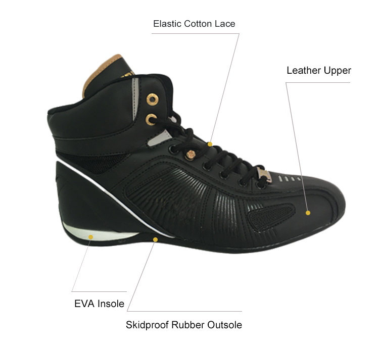 Men's Indoor Durable Gym Athletic Black Boxing Shoes