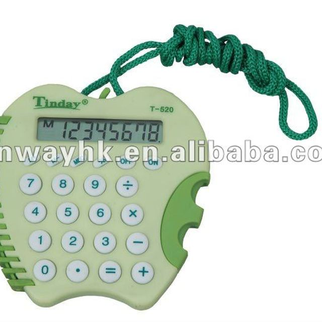 premium funny 8 digits green apple shape calculator