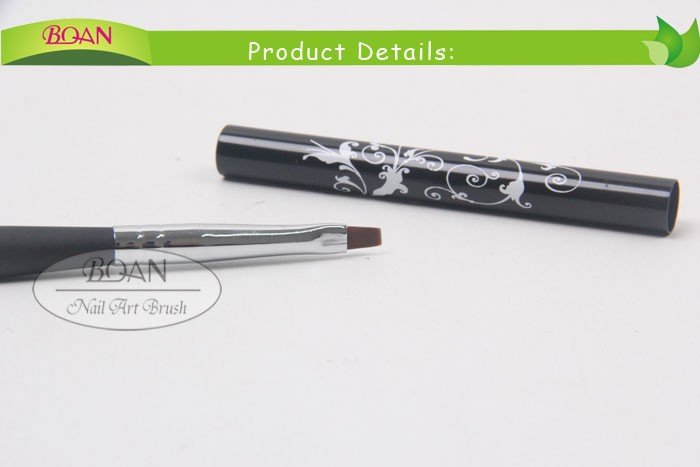 2015 BQAN Nylon Hair Flat Nail Art Gel Brush With Blooming Flower Pattern