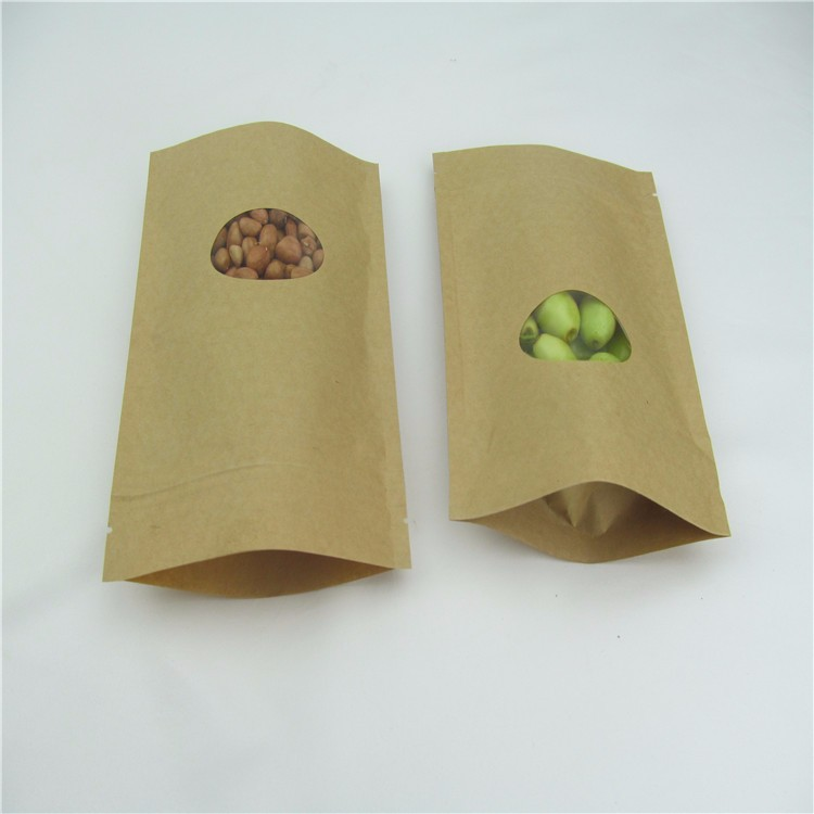China Manufacturers Cheap Food Waterproof Ziplock Stand Up Valve Kraft Paper Bag With Clear Window