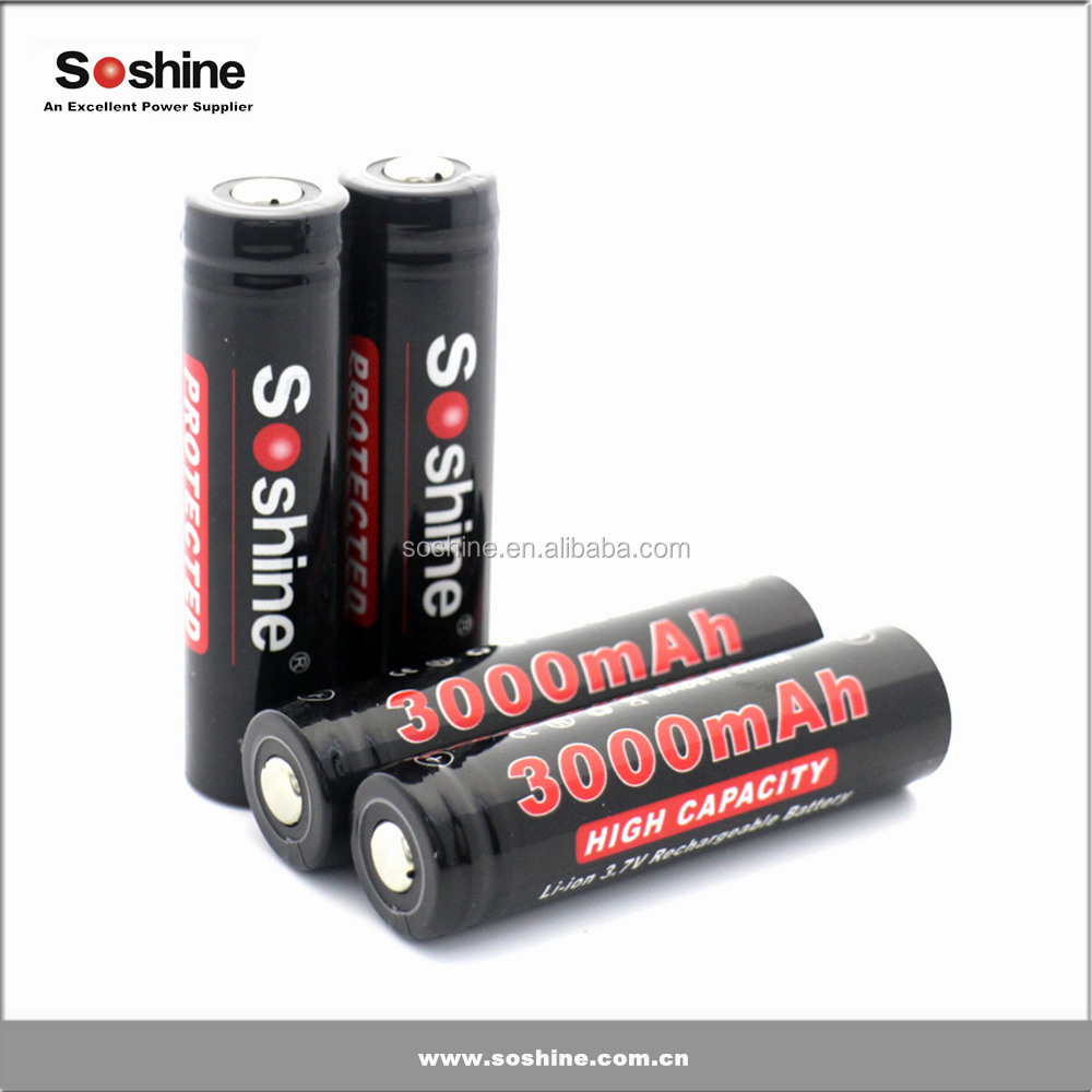 Wholesale hot selling Soshine 18650 battery 3000mah imr 18650 rechargeable battery for electronic cigarette CE ROHS Certificate