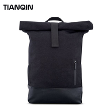 Water Resistant Durable Black Waxed Canvas Rolltop Backpack Casual Daypacks