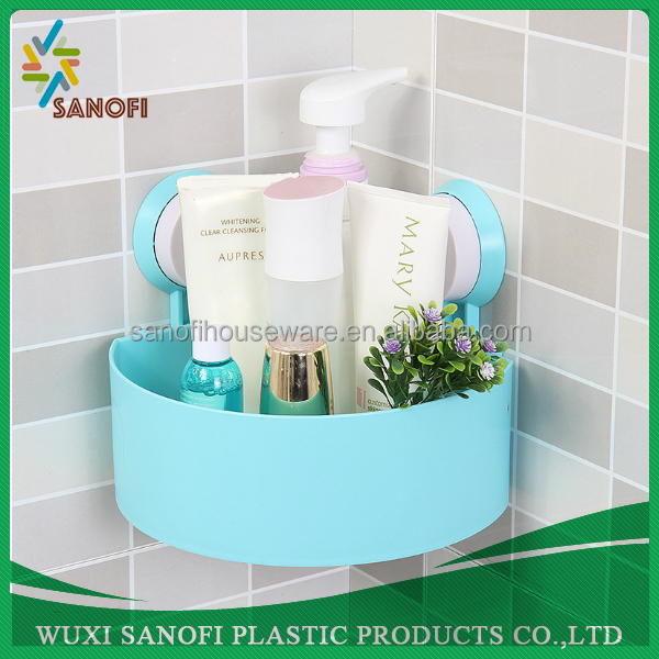plastic big bearing hanging triangle shelf with suction cup/Bathroom shower rack corner shelf