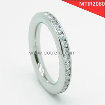 Slim pure titanium Ti eternity ring with full zircon diamond
