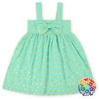 Latest Party Wear Dresses For Girls Mint Green And Small Gold Polka Dots Little Girls Cotton Summer Dresses Girls Frock Designs