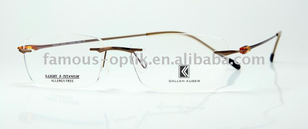 rimless beta titanium optical eyeglasses frame with TR90 hinge