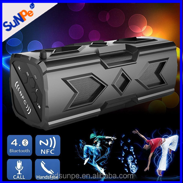 Waterproof Shockproof Dustproof Outdoor Sports NFC Portable Bluetooth Speaker With NFC Power Bank Built-in Mic