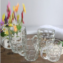 Beautiful Clear glass beer mug wholesale Beer glass mug With Handles