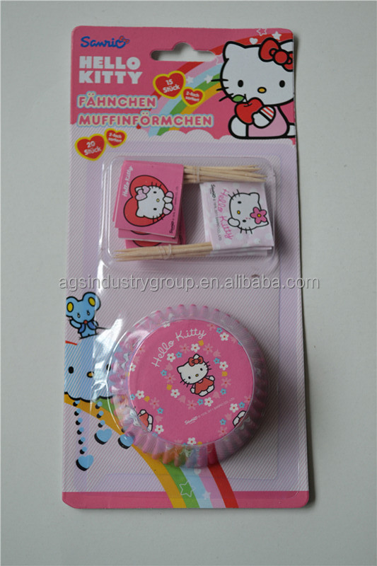 promotional party paper cupcake for cakeshop and bakery in pink cartoon style