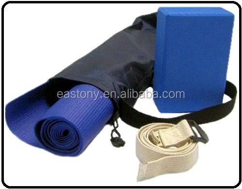 Yoga Kit For Beginners and Intermediates - Mat, Foam Block, Strap, Mat Bag