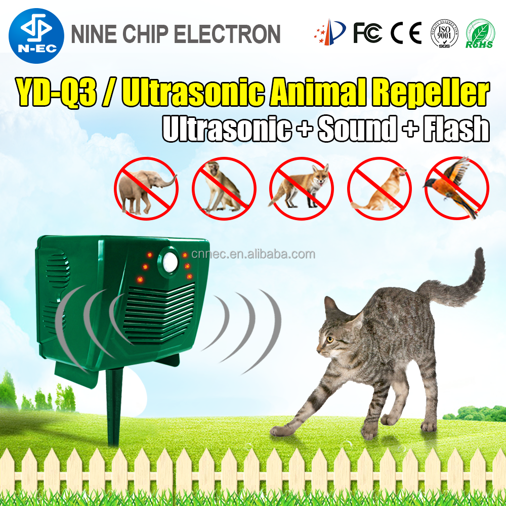 Solar powered electronic bird control ultrasonic rodent repeller for cats