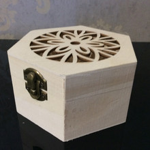 wholesale small hexagon unfinished wood box for gift