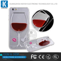 [kayoh] Hot sale Red Wine Cup Liquid Transparent Case Cover For Apple iPhone 5 5S 6 6S 6 Plus All Models Phone Cases