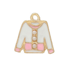 Charm Pendants Cloth Coat Gold Plated With Acrylic Pearl Imitation Ball Enamel Pink & White 14mm x 14mm