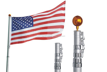 20FT Aluminium telescopic flag pole kit fly 2 flags design