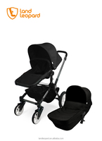 China brand braking system of producing high end 3 in 1 pram baby stroller with new design pushchair w/ big wheels swivel wheels