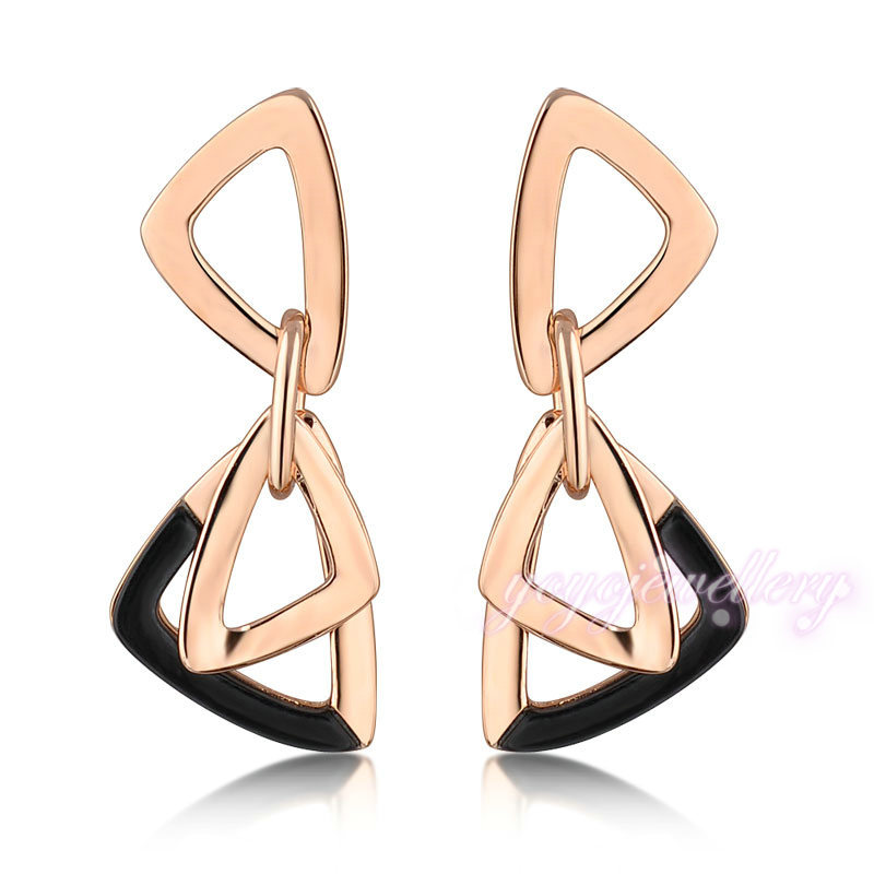 Wholesale boutique jewelry triangle hoop earrings 14k gold for Wholesale 14k gold jewelry distributors