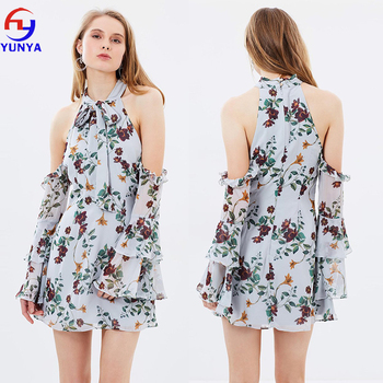 New fashion women A-line silhouette long sleeve back zipper closure floral printed chiffon loose mini dress