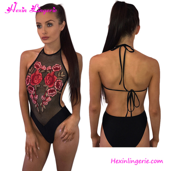 Black Embroidery backless mesh sexy one-piece women swimsuit swimwear