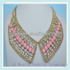 New arrival statement necklace costume jewelry /Fashion glass stone beaded necklace neck design