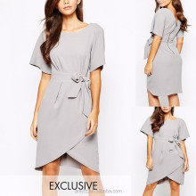 formal wrap dress short sleeve front knot work wear dress for young office lady