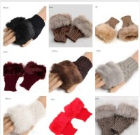 Cheap Female Autumn And Winter Thick Rabbit Fur Fingerless Knitted Gloves Knit Gloves