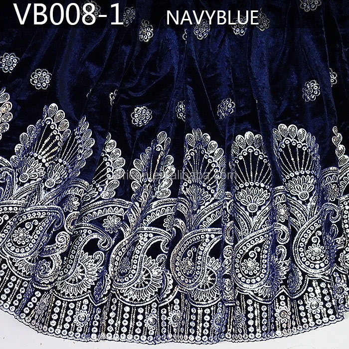 high quality royal blue African Velvet lace fabric Handcut velvet lace VB008-1 navy blue