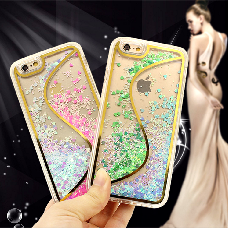 Fashion S type double color solid quicksand cell phone case hard cover TPU+PC bumper case for iphone 6 plus / iphone 6s plus