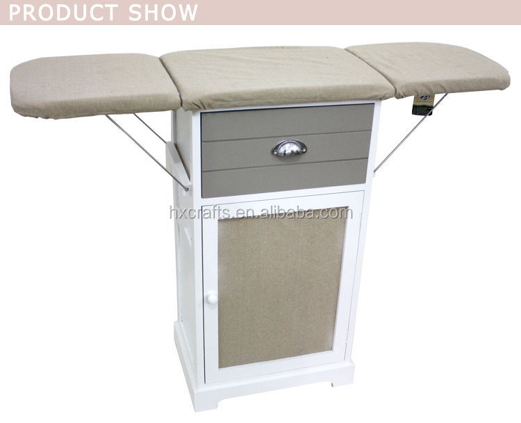 wooden folding ironing board in cabinet