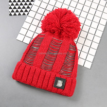 Custom Logo Winter Knited Hat Beanies Fashion Hollow Plain Red Lady Knit Hat With Ball Top
