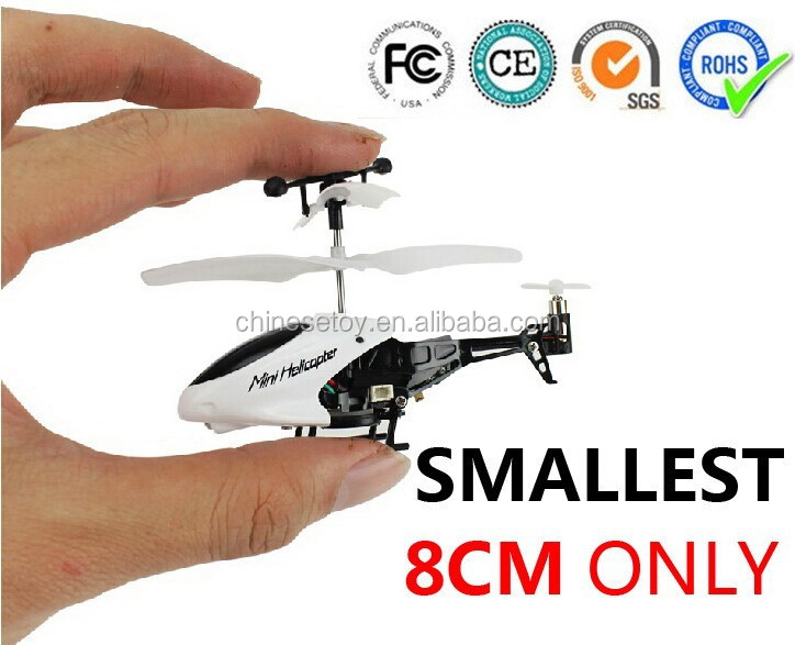 2014 Hot Sale Smallest helicopter 8CM Mini Rc Helicopter With Gyro LED Light 3.5CH Red And White Radio Control Toys