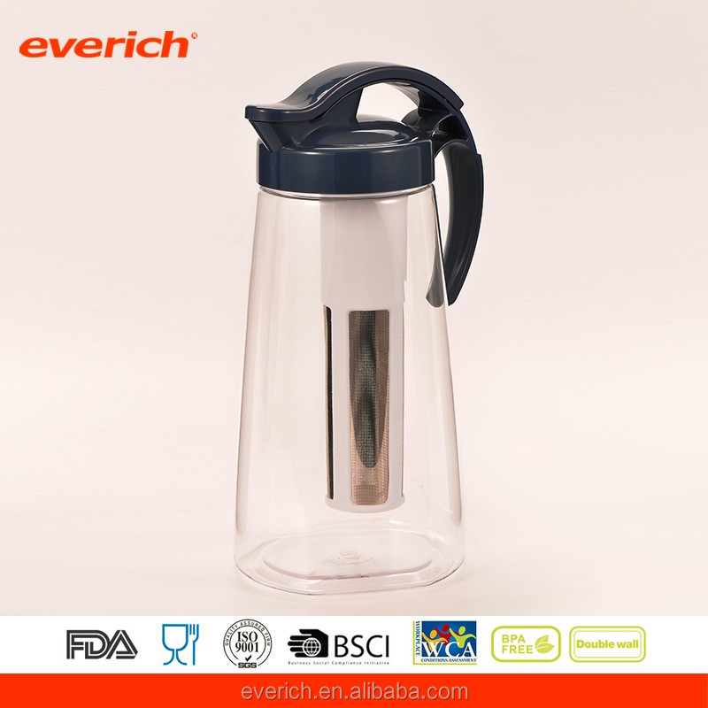 2L Plastic Water Filter Pitcher With Tea Infuser And Leakproof Lid