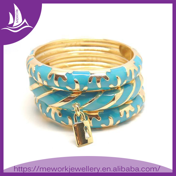 Young Women Gold Plated Blue Enamel Lover Valentines Day Gift Bangle Bracelet