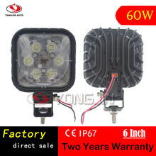 New Arrival 60W 6 inch Square Led work light for Jeep/Auto/Motorcycle/Forklift
