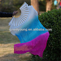 Belly Dance Silk Fan Veils, WHITE/TURQUOISE/FUSCHIA, Left+Right,Real Silk Material, 180*90CM