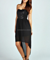 CHEFON Sequin panel bandeau black short front long back dress