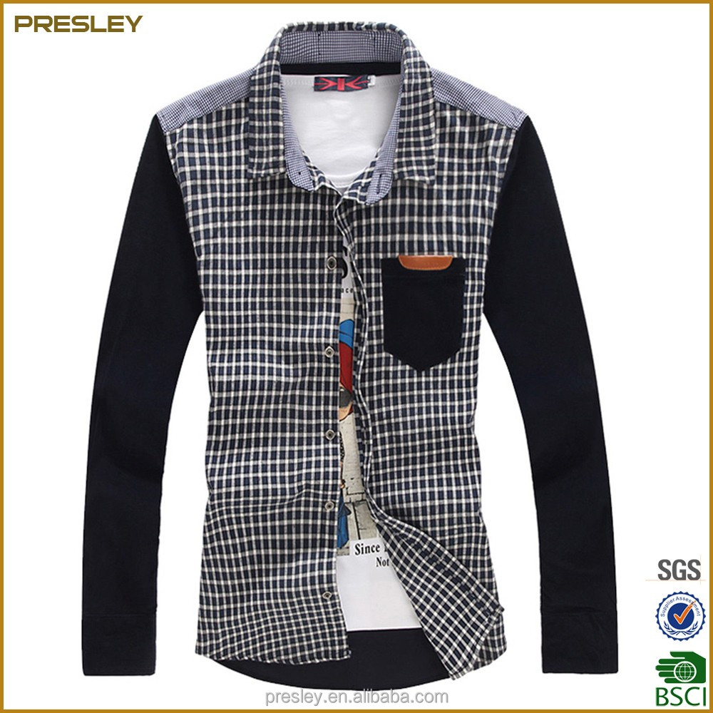 2016 custom high quality plaid latest shirts for men pictures made in China