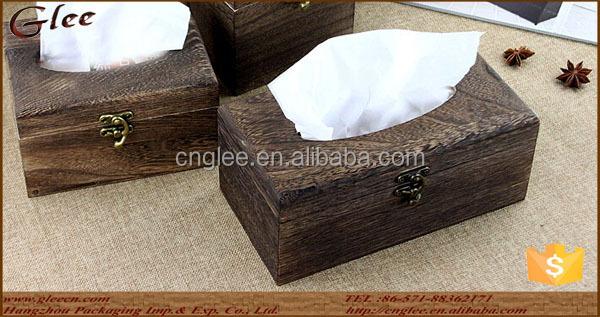 cheap antique burn light wooden tissue box