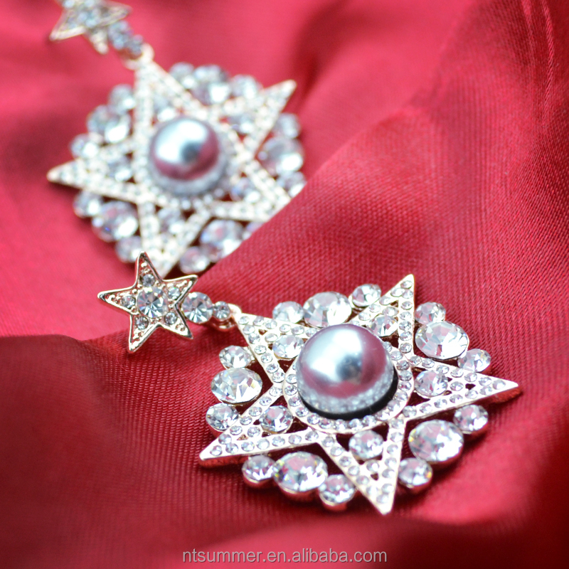 Wholesale ultra low discount alloy crystal rhinestone imitation pearl irregular five-pointed star drop earrings or jewelry set