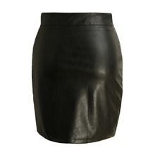 New Sexy Women PU Leather Skirt Bodycon Split Solid Color High Waist Short Mini Skirt Tight Skirt Black