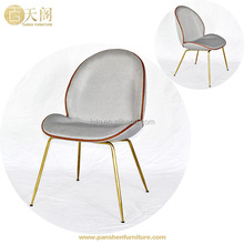 Dining room furniture brass golden metal legs blue velvet Gubi Beetle dining Chair