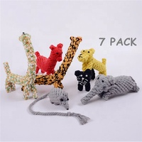 Durable Funny Animal Design 7 PACK Dog Chew Toy Gift Set Cheap Interactive Squeaky Bite IQ Teething Training Dog Pet Rope Toy