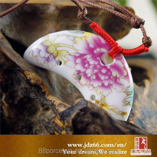 Pink Flower crescent Ceramic pendant kids' necklace lady porcelain pendant