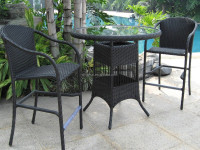Garden used special rattan woven outdoor bar furniture set high table and wicker plastic bistro chair