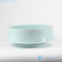 RZJR08 Elegant valuable carved lotus pattern mint green color hot sale ceramic water pot