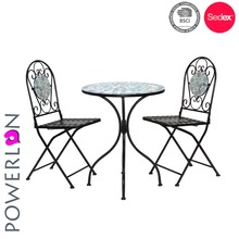 Hot Selling Classical Antique Mosaic Paint Color Folding Wrought Iron Garden Bistro Set Outdoor Furniture For Home Patio