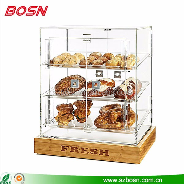 Best sell acrylic material dry bakery display case used for sale with wooden base