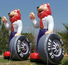 Giant inflatable tire fox,inflatable cartoon for tire advertising