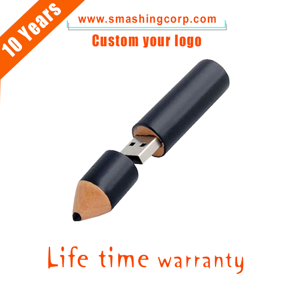 pencil shape promotional cartoon model custom logo wooden pencil model 2gb 4gb 8gb 16gb gift usb flash drive with CE/ROSH/FCC