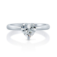 Single Heart CZ Stone Solitaire Silver Ring Bridal Wedding and Promise Ring